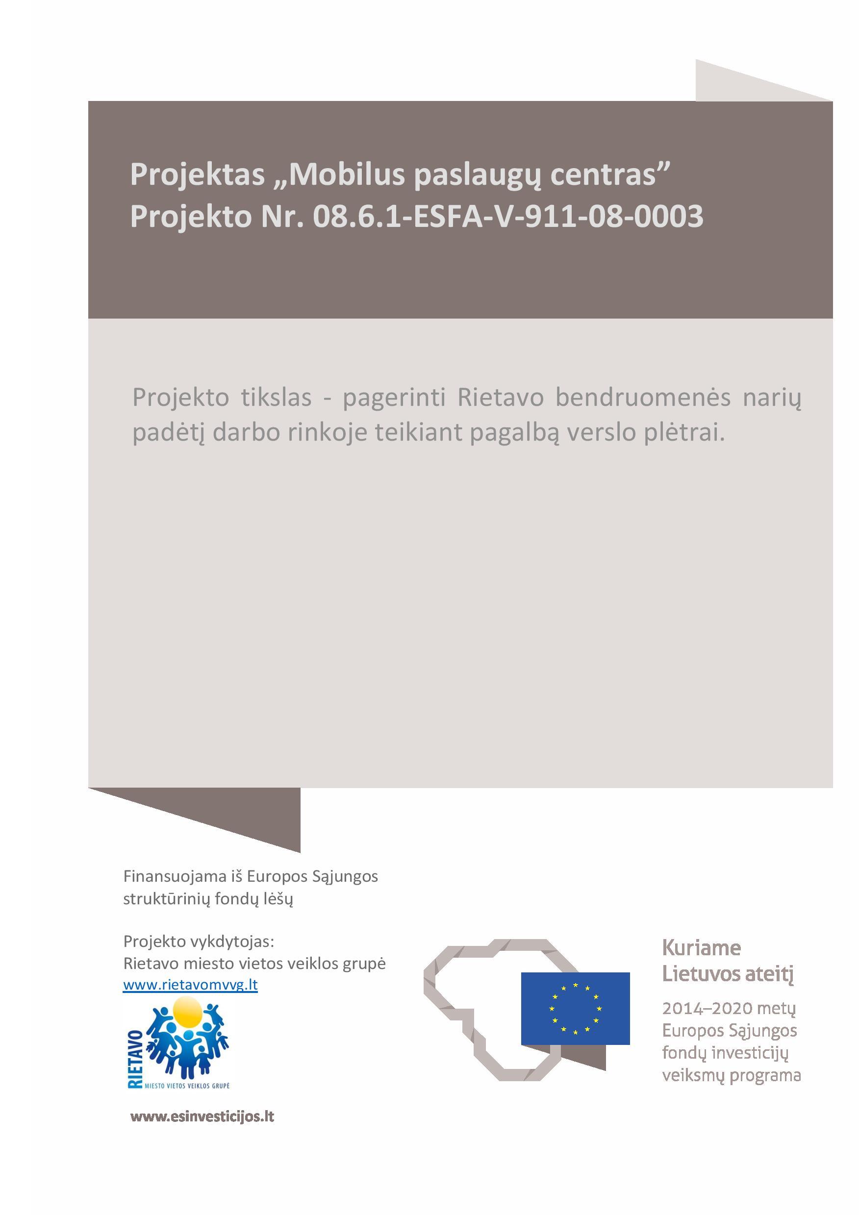 """Projektas """"Mobilus paslaugų centras"""""""