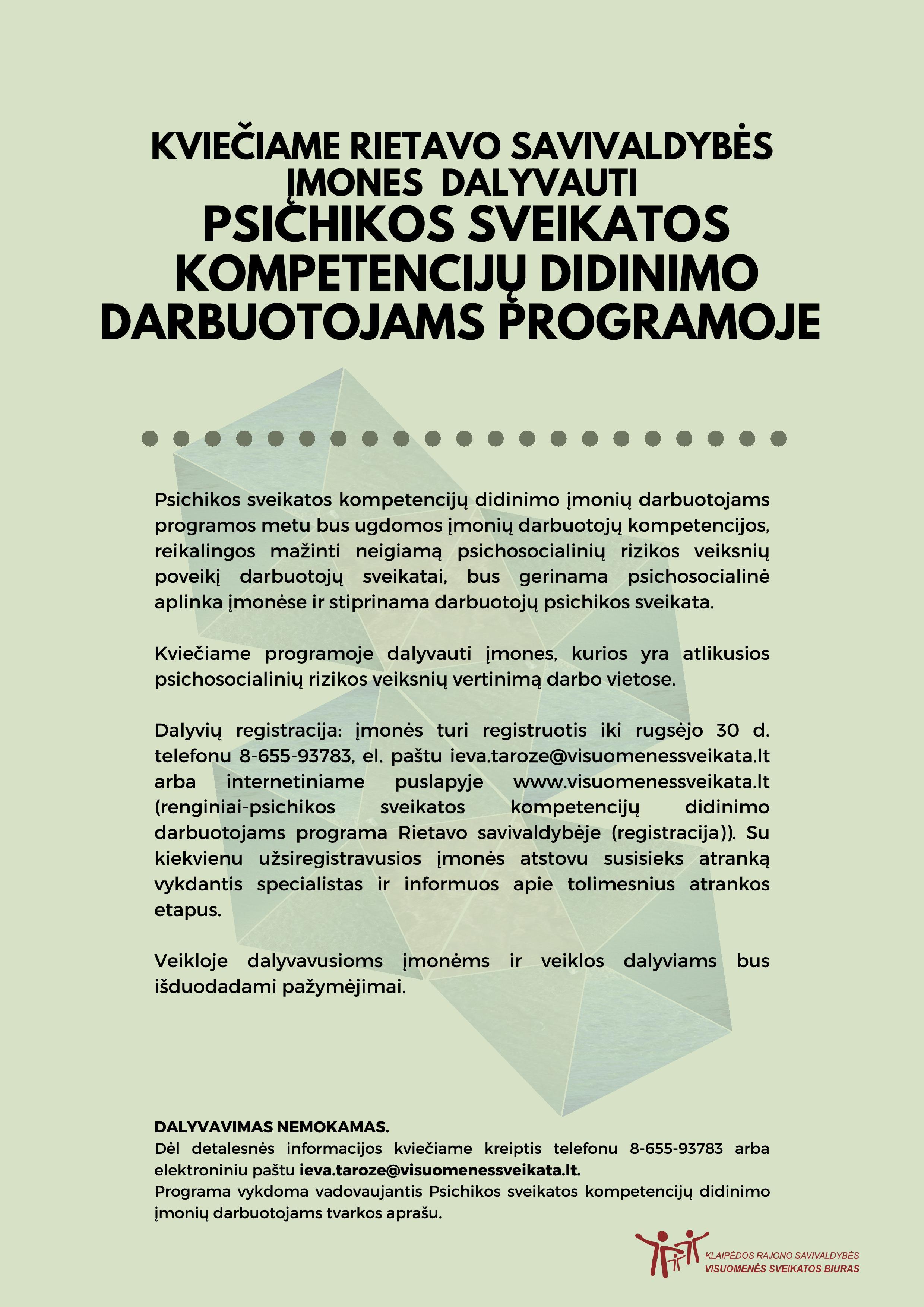 Kvietimas dalyvauti psichikos sveikatos kompetencijų didinimo darbuotojams programoje